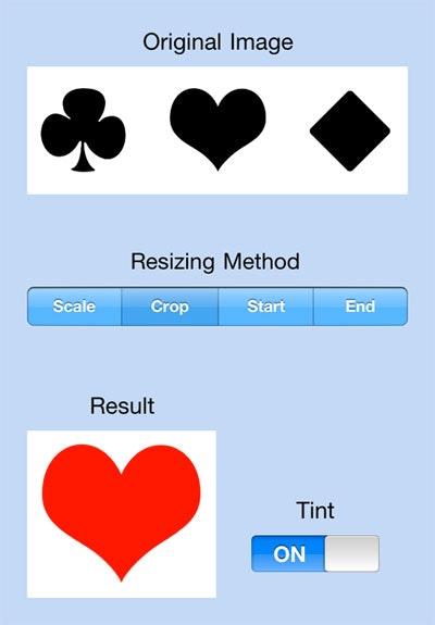 Screenshot of MGImageUtilities demo app