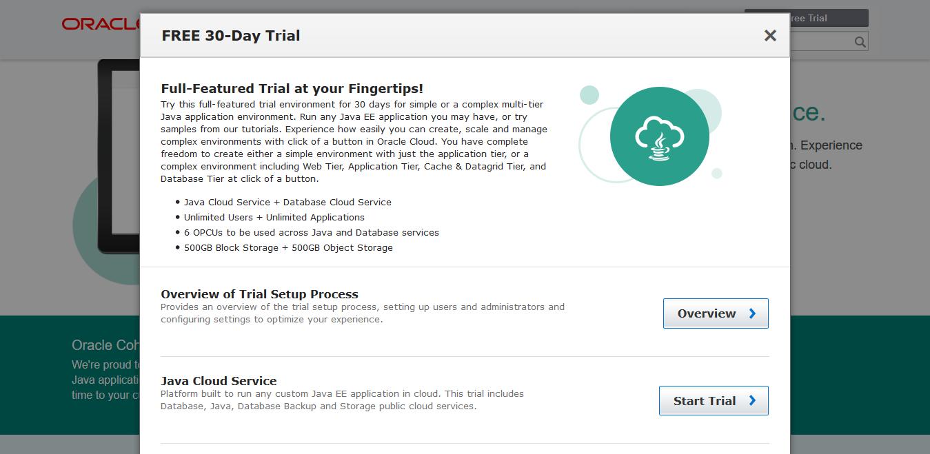 Java Cloud Servcie トライアル選択