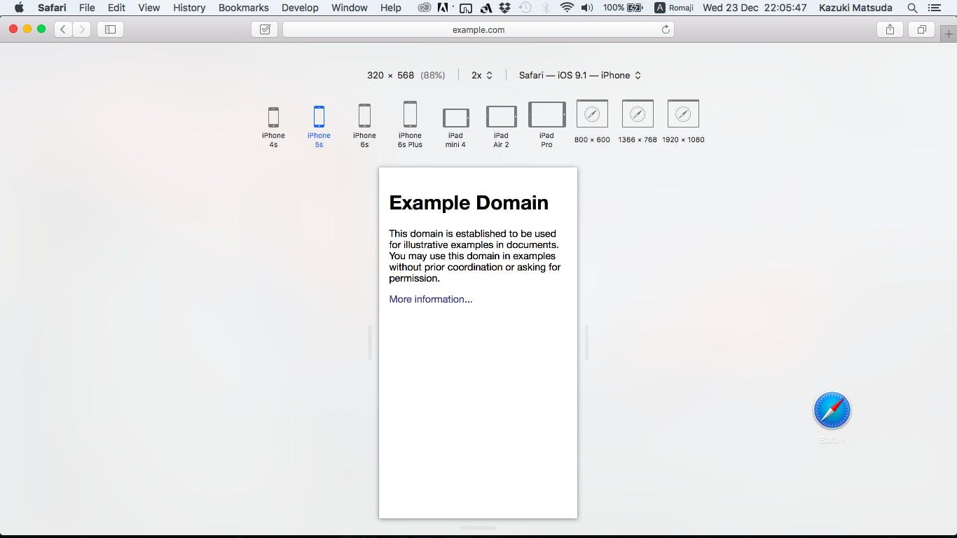 Safari Responsive Design Mode