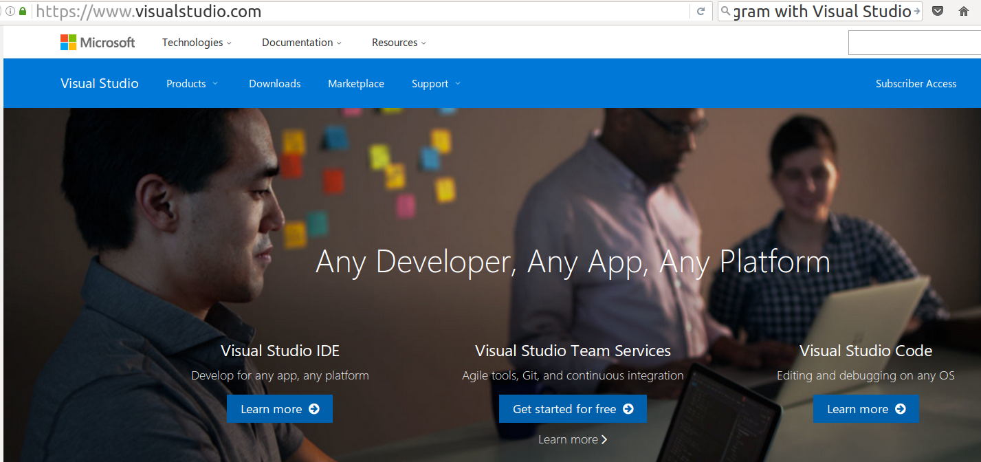 visualstudio.com top page