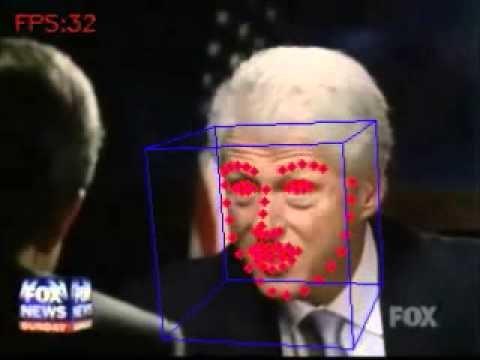 OpenFaceによる、顔のランドマークの検出、および、頭のポーズの推定