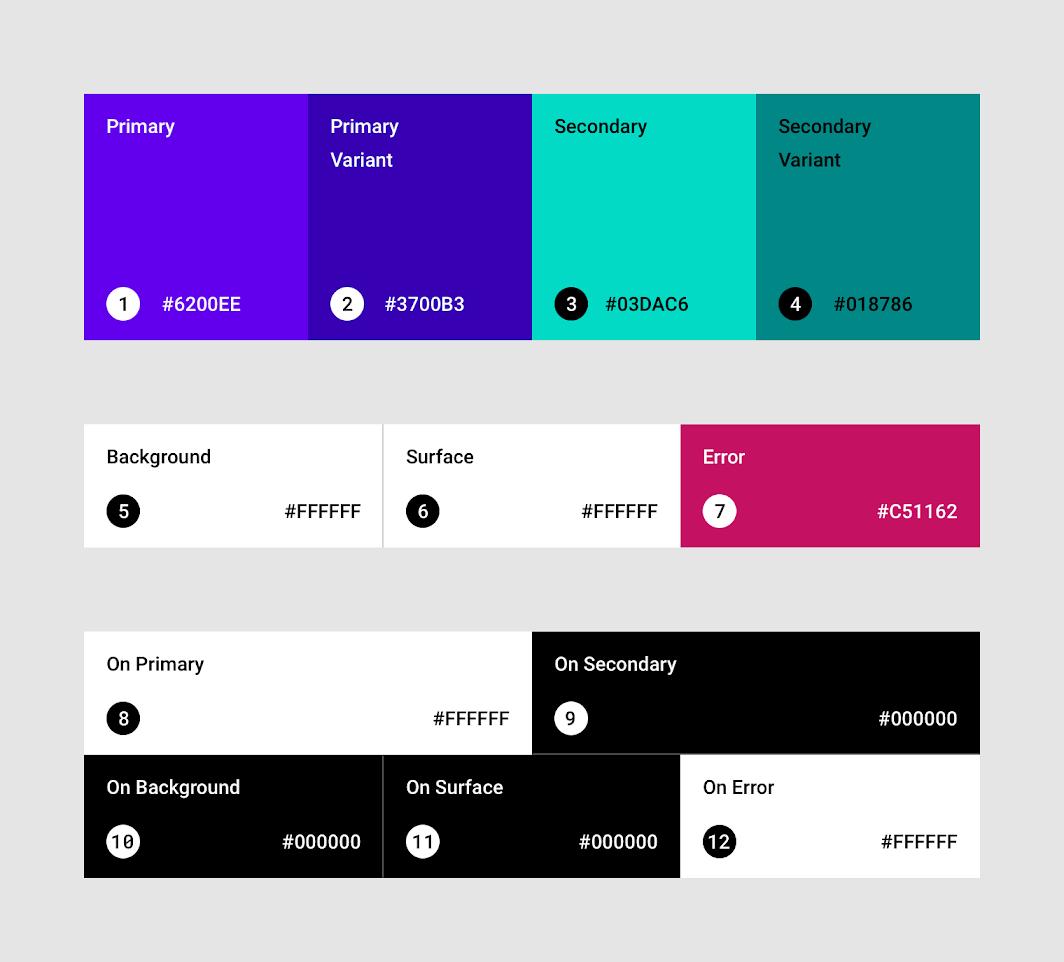 Material Designデフォルトの配色