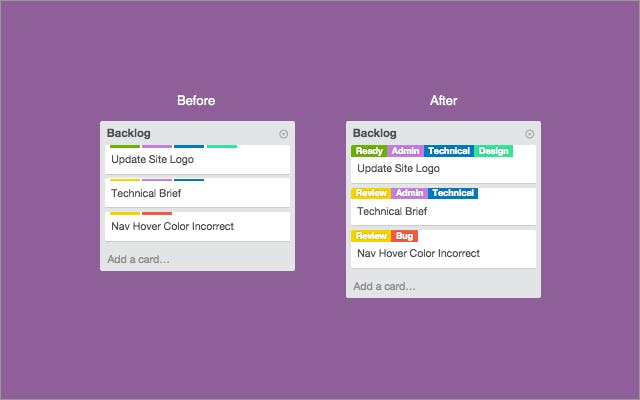 Card Color Titles for Trello