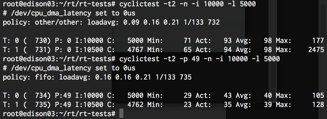 cyclictestの結果2スレッド