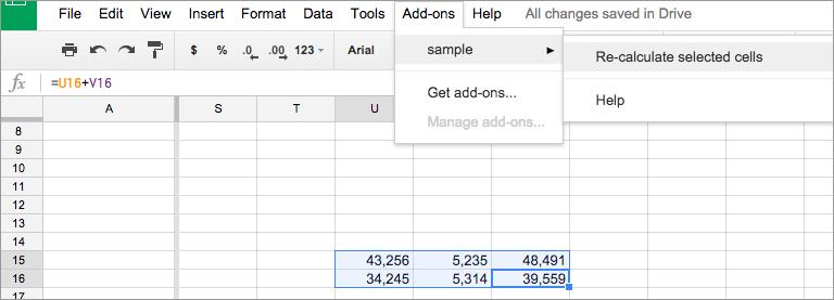 Google SheetのAdd-onsメニュー