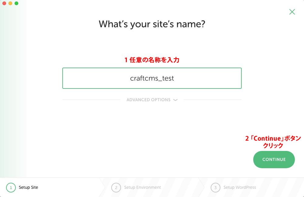 真ん中の入力ボックスで設定画面で選択用の名称を入力後、「Continue」ボタンをクリック