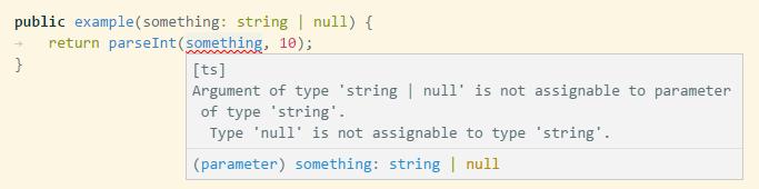 nullかもしれないのでparseIntできないよとリアルタイムで教えてくれる例