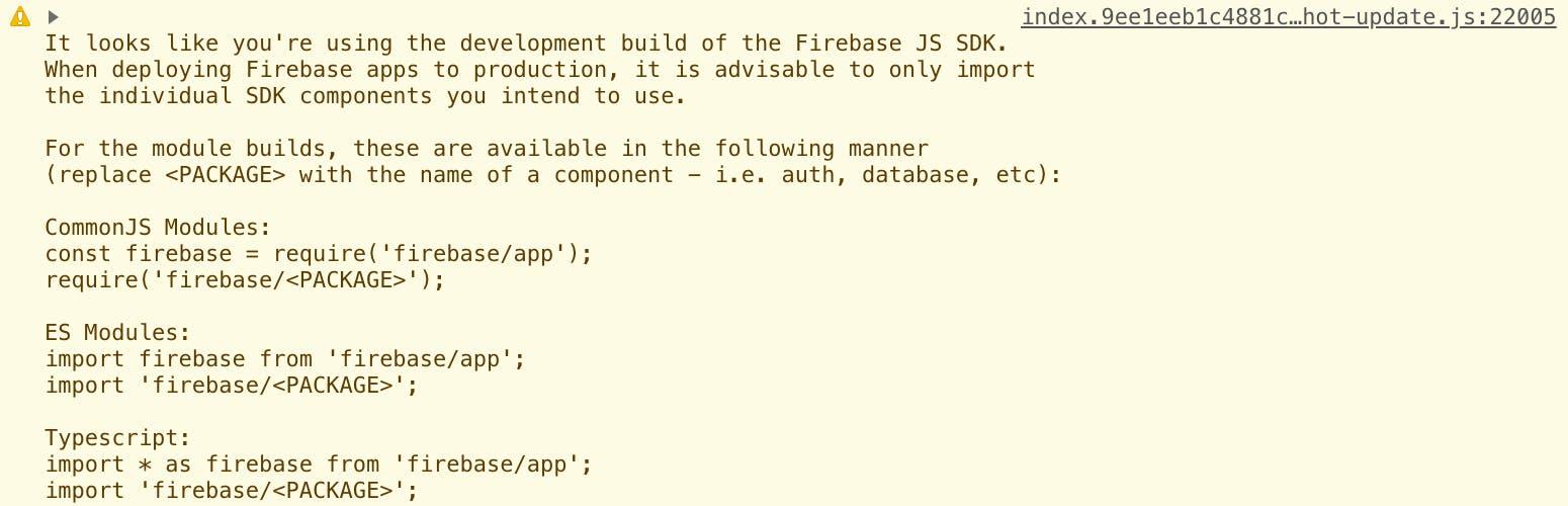 Firebase][JavaScript] プロジェクトにimportする際に警告文が出てくる