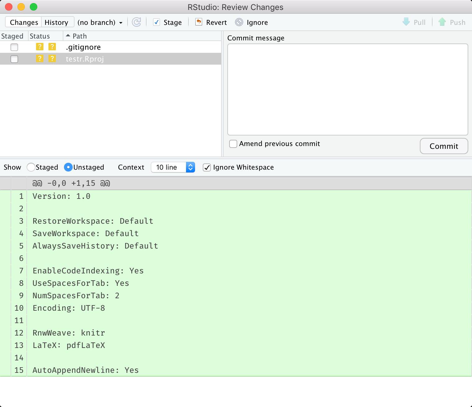 gitタブのDiffボタンを押すと表示される画面。ファイルの中身(変更点)が出力されている