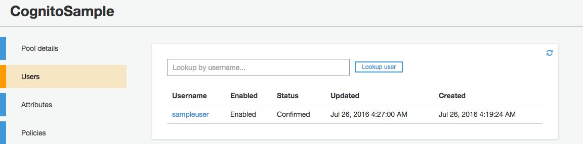 確認コード登録完了直後のUserPool