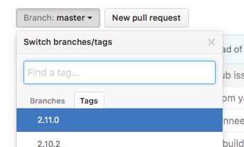 GitHubでタグを選択している画像