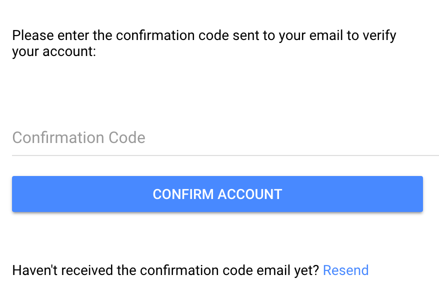 email confirm screen