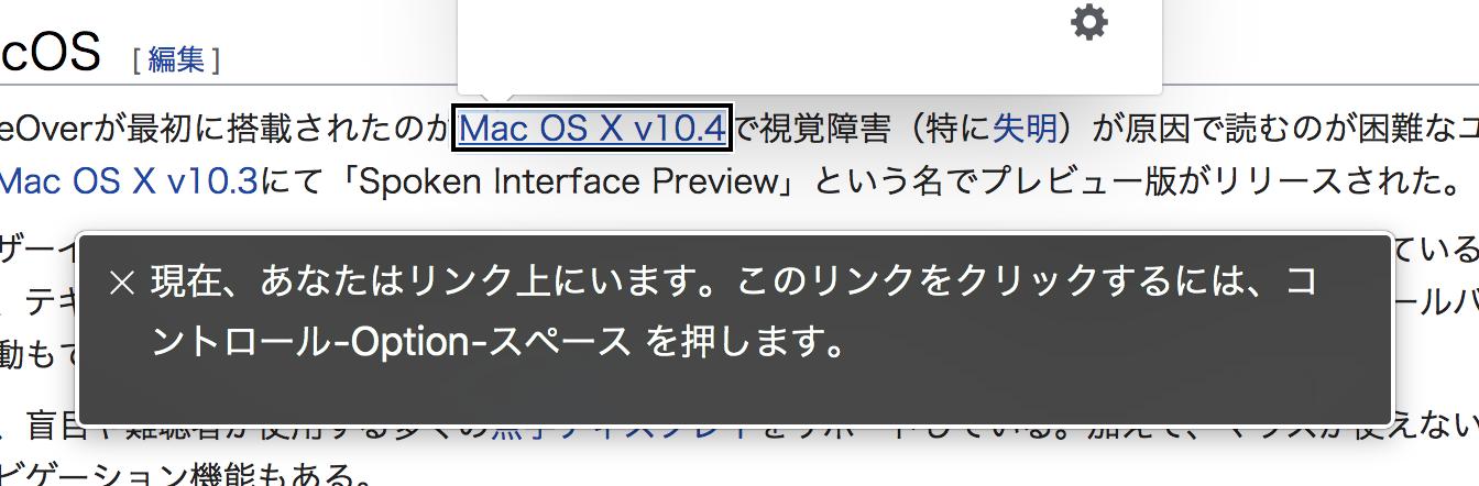 リンクの操作方法を VoiceOver が読み上げている様子