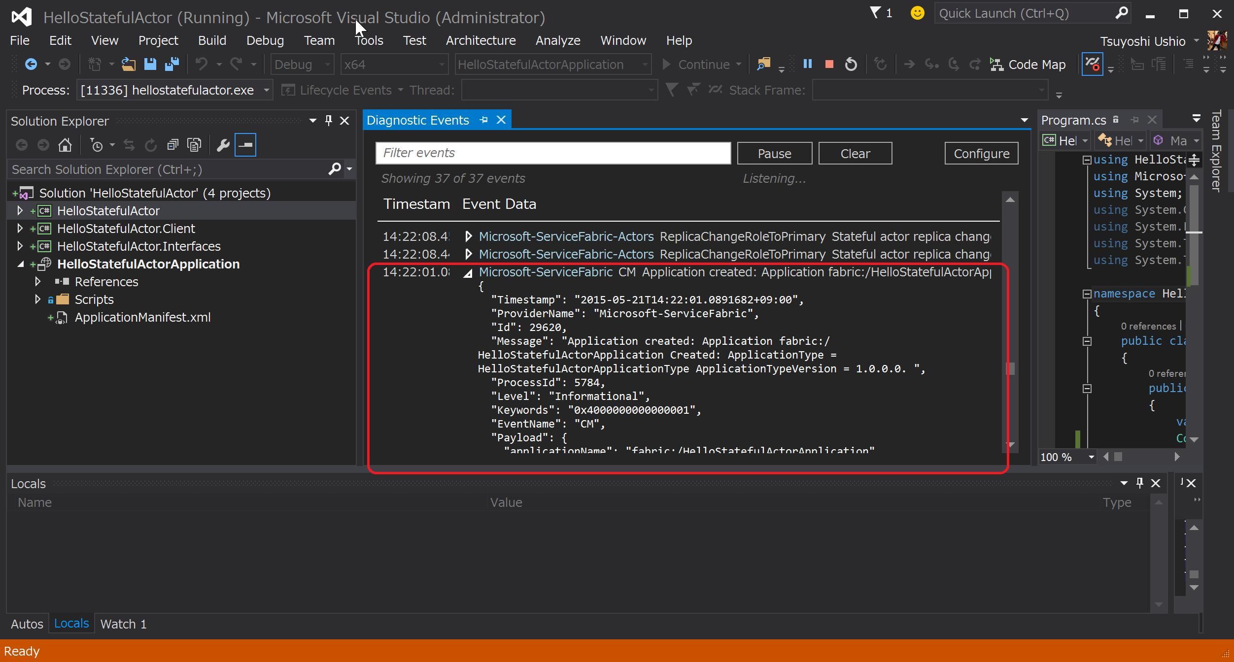SnapCrab_HelloStatefulActor (Running) - Microsoft Visual Studio (Administrator)_2015-5-21_14-22-37_No-00.png