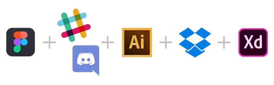 Figma+Slack/Discord+Illustrator+Dropbpbox+(AdobeXD)