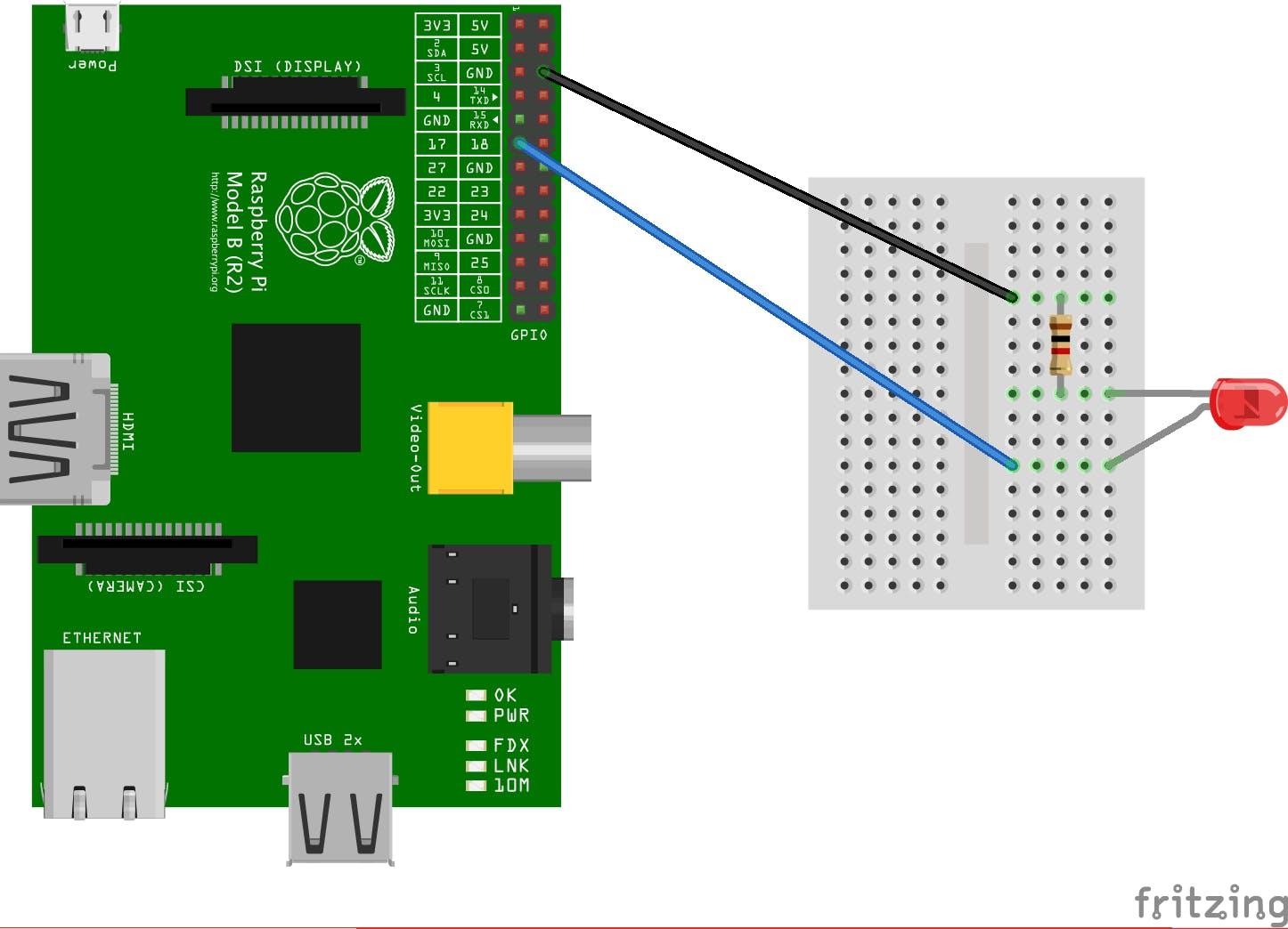 Raspberry PiでPythonのRPi GPIOを使ってLチカする - Qiita