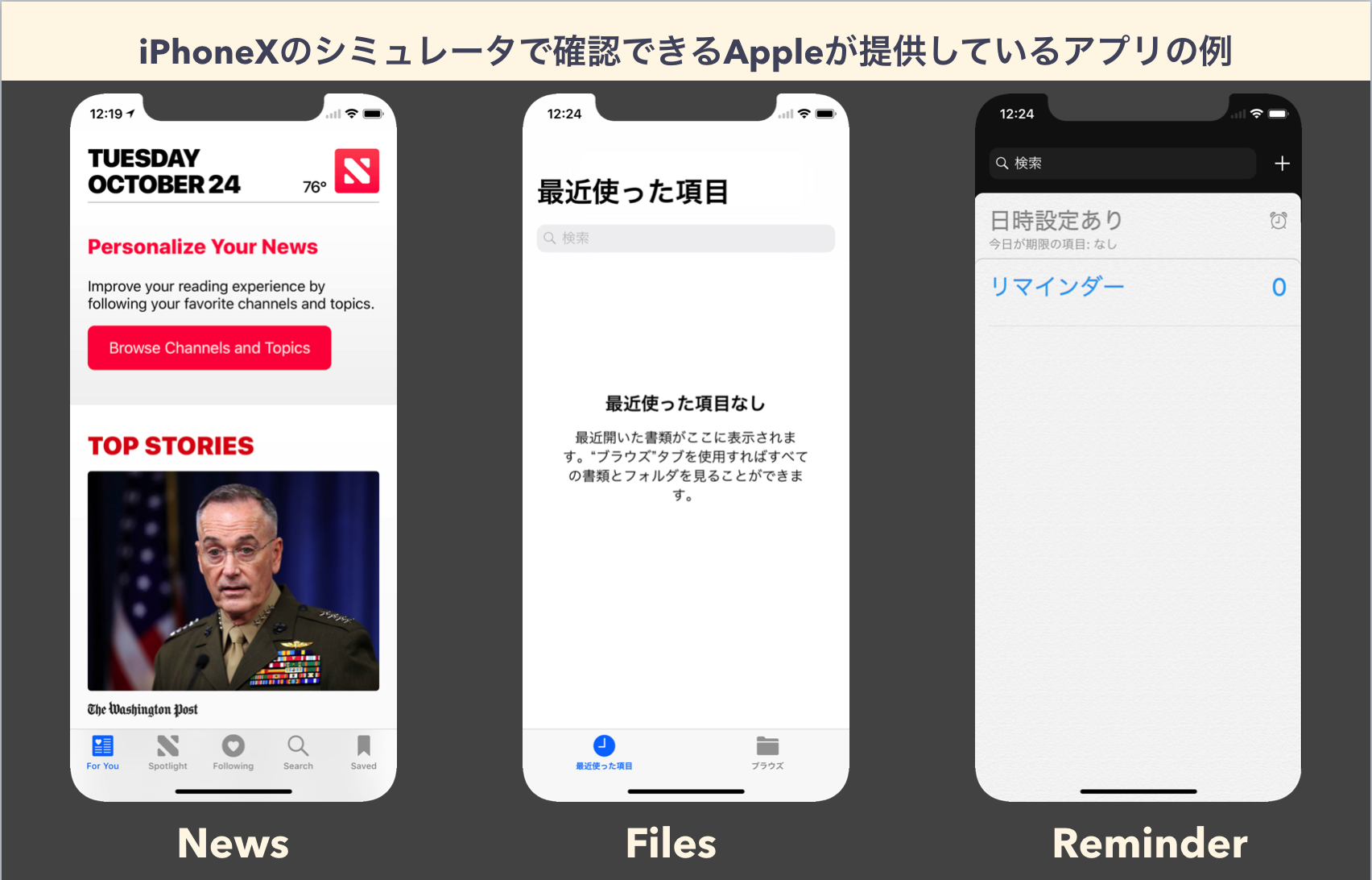 Appleの提供する標準アプリの例