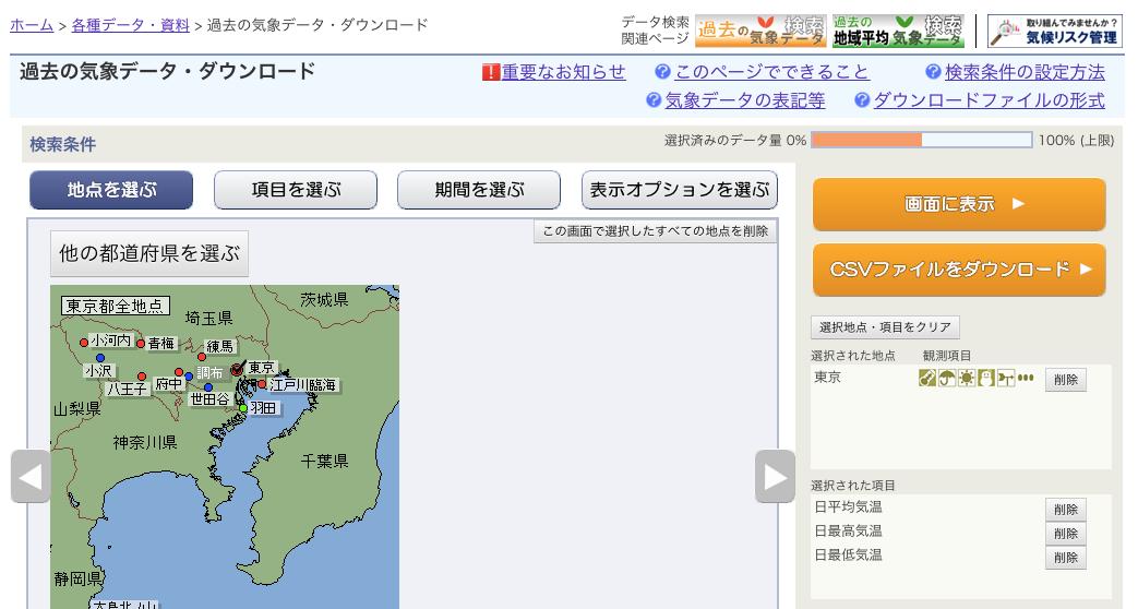 気象庁ダウンロードページ