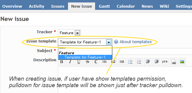 Issue Templates plugin Screenshot