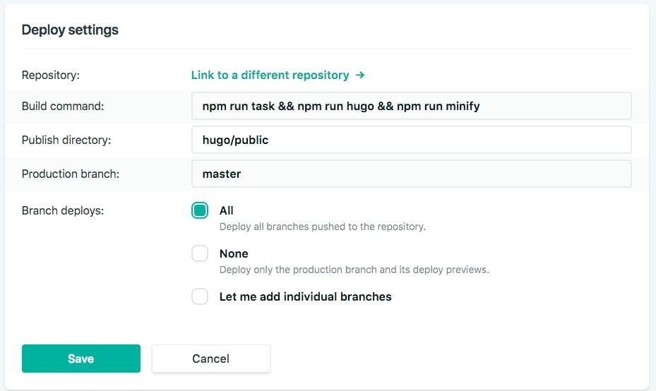 NetlifyのDeploy settingsのスクリーンショット