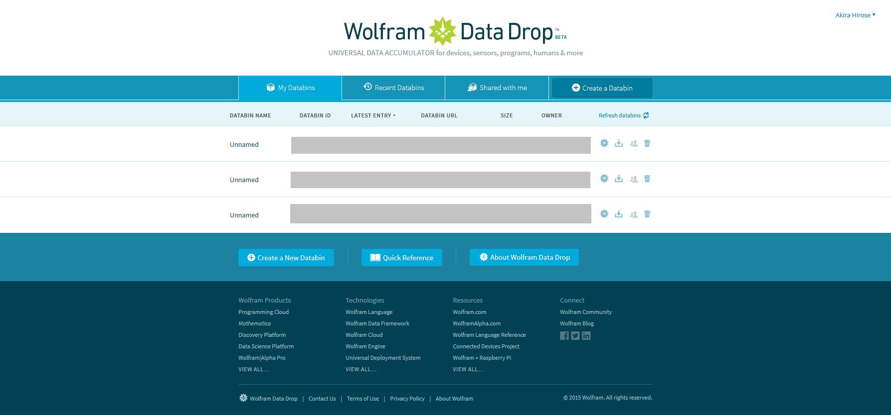 My Databins - Wolfram Data Drop.png