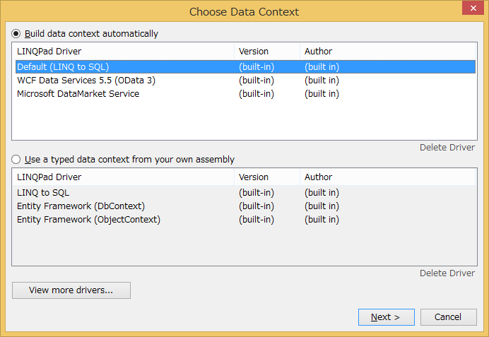 Choose Data Context