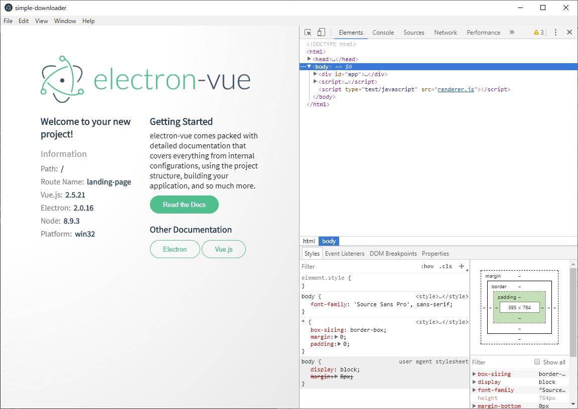 年末年始Webアプリ開発自習の記録6: Node js+Electron+Vue js開発環境