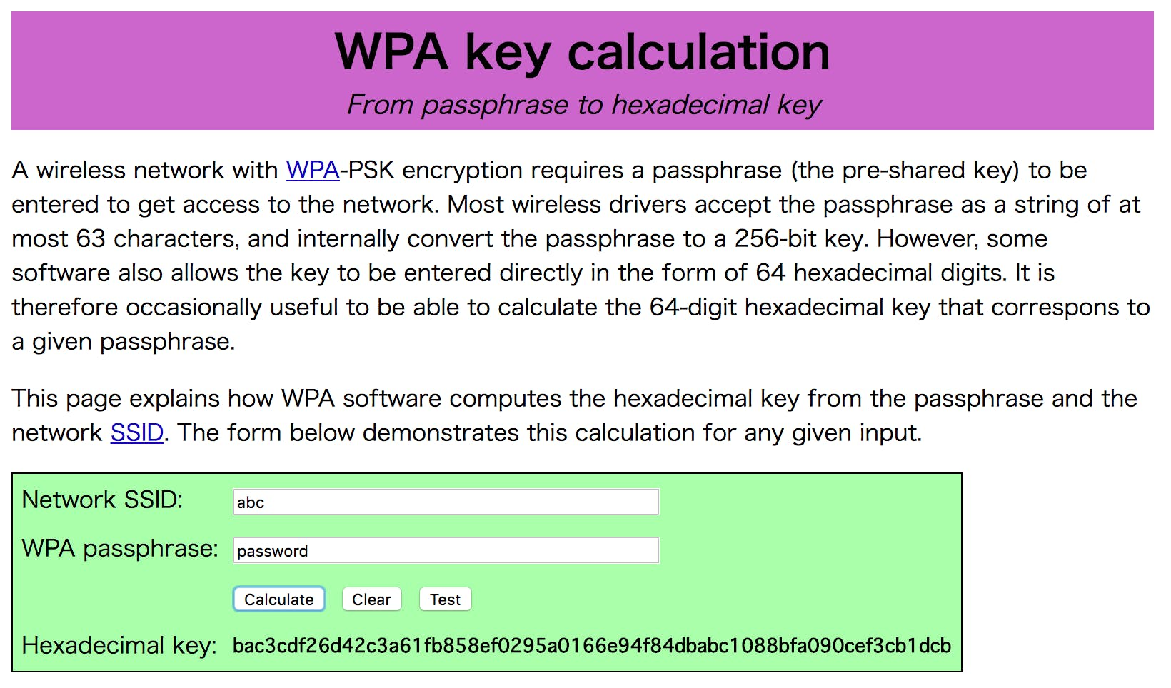 WPA key calculation