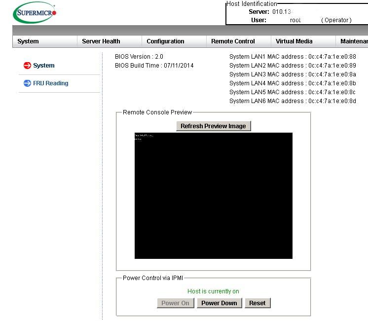 IPMIの管理画面