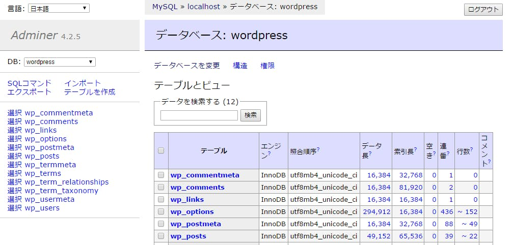 データベース  wordpress   Adminer.png