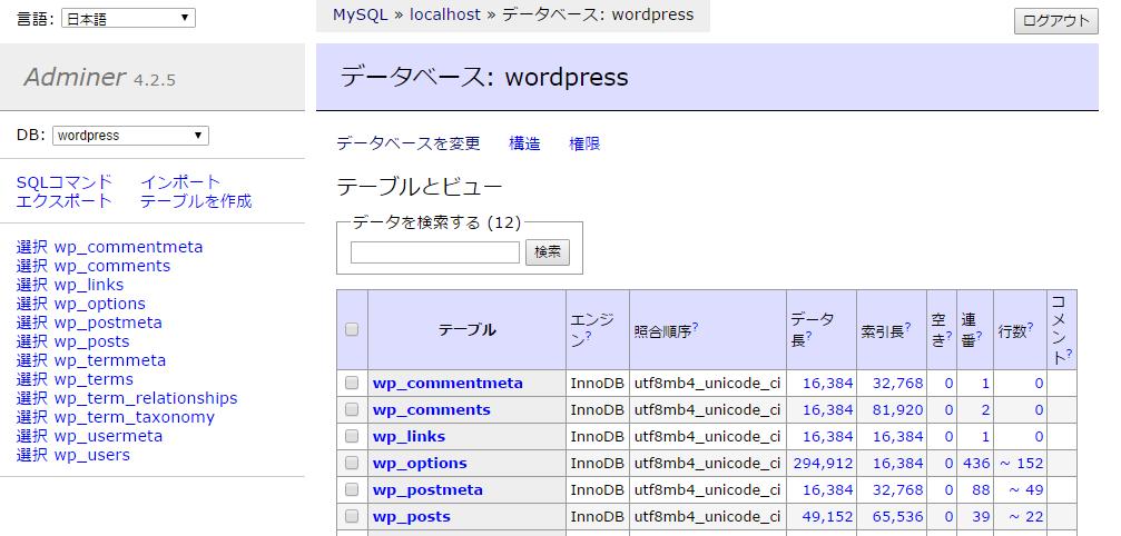 データベース  wordpress   Adminer.png