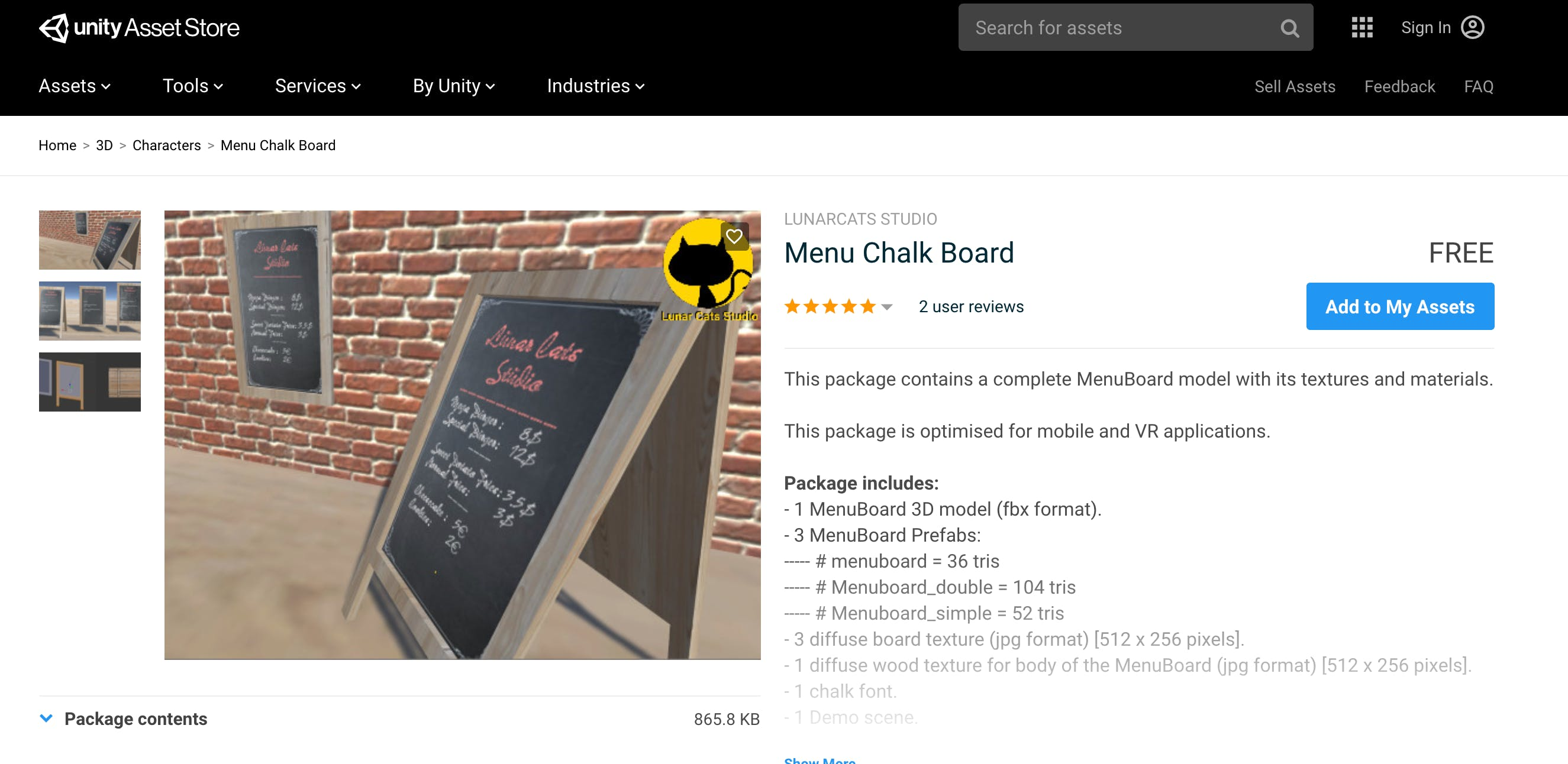 screenshot of the Menu Chalk Board asset found on the Unity Asset Store