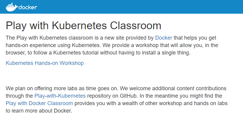 Play with Kubernetes classroom