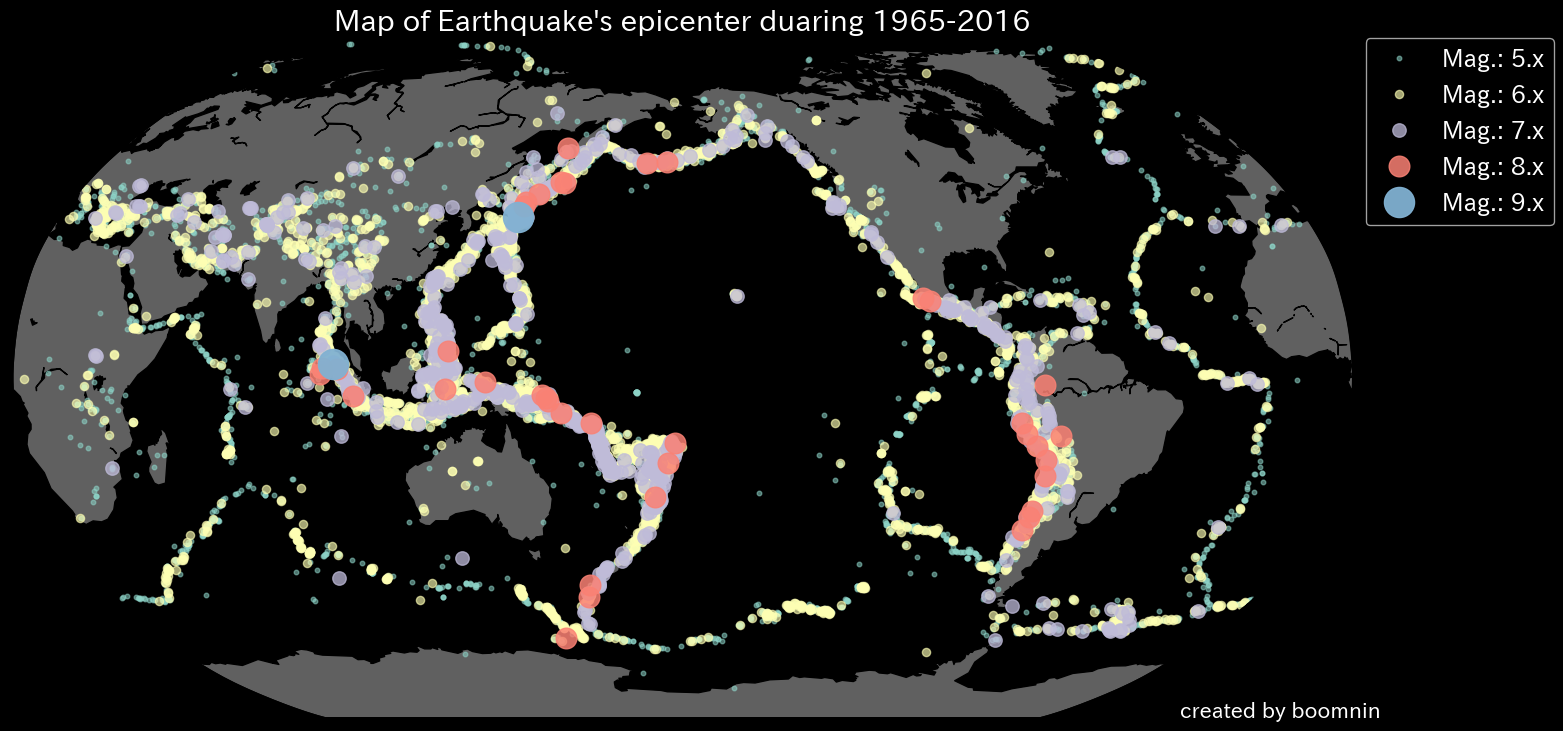 Map of Earthquake's epicenter duaring 1965-2016.png