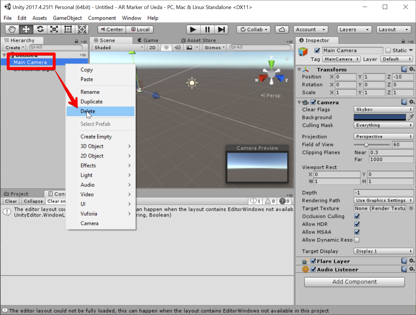 Unity 2017.4.25f1 Personal (64bit) - Untitled - AR Marker of Ueda - PC, Mac & Linux Standalone _DX11_ 2019-07-05 07.36.19.png