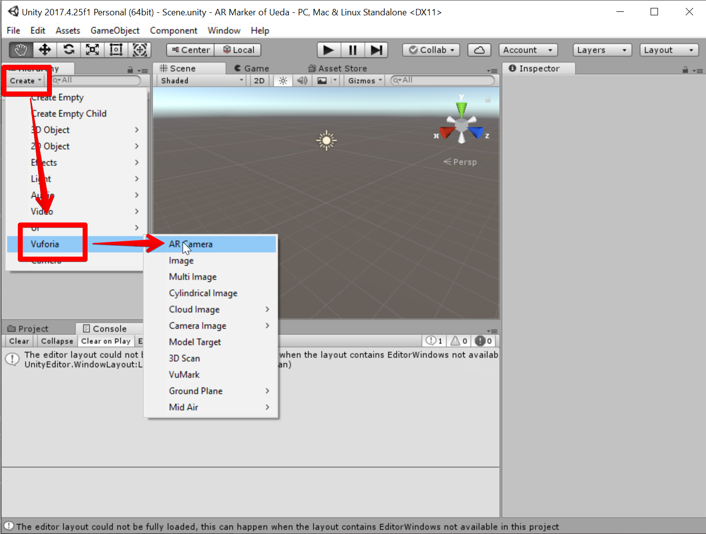Unity 2017.4.25f1 Personal (64bit) - Scene.unity - AR Marker of Ueda - PC, Mac & Linux Standalone _DX11_ 2019-07-05 07.39.03.png