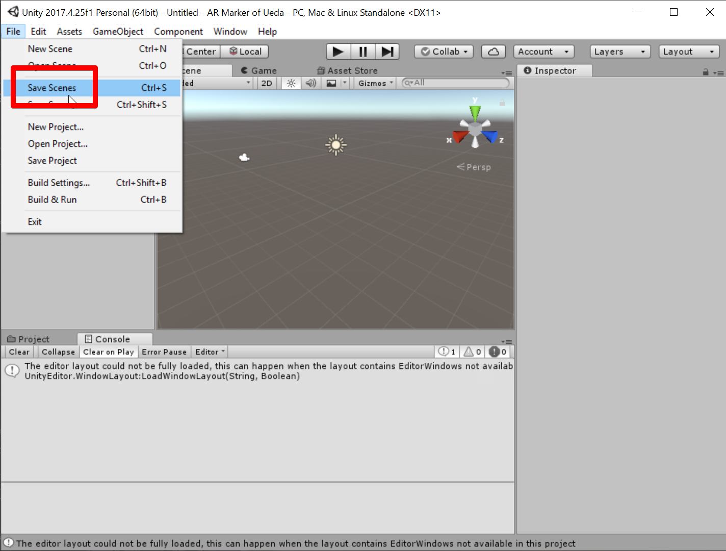 Unity 2017.4.25f1 Personal (64bit) - Untitled - AR Marker of Ueda - PC, Mac & Linux Standalone _DX11_ 2019-07-05 07.30.34.png