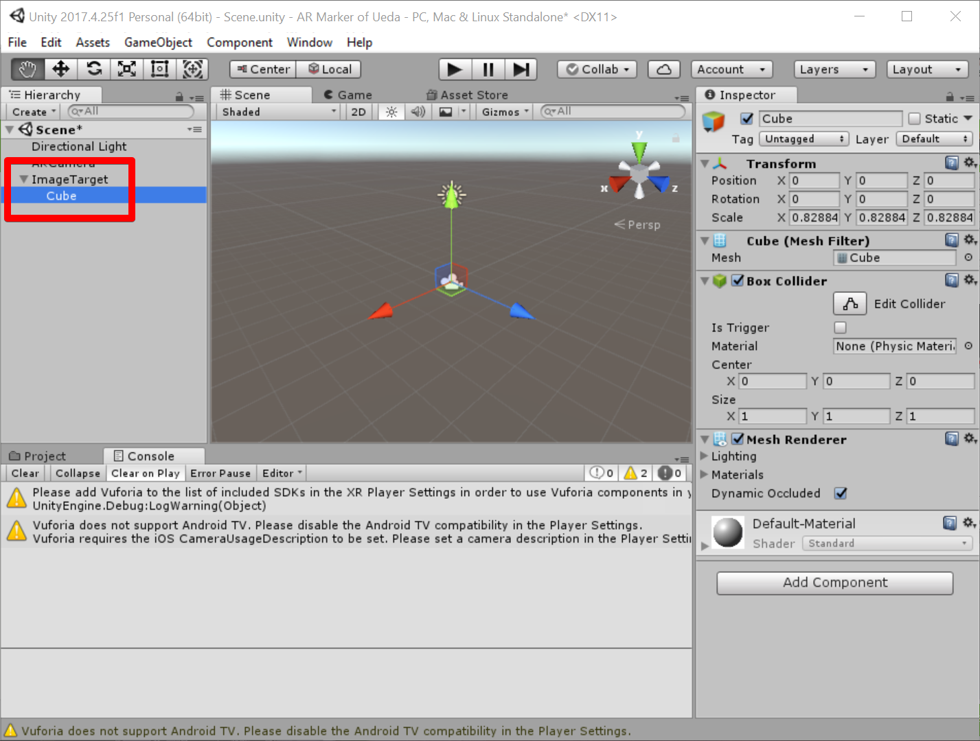 Unity 2017.4.25f1 Personal (64bit) - Scene.unity - AR Marker of Ueda - PC, Mac & Linux Standalone_ _DX11_ 2019-07-05 07.52.34.png