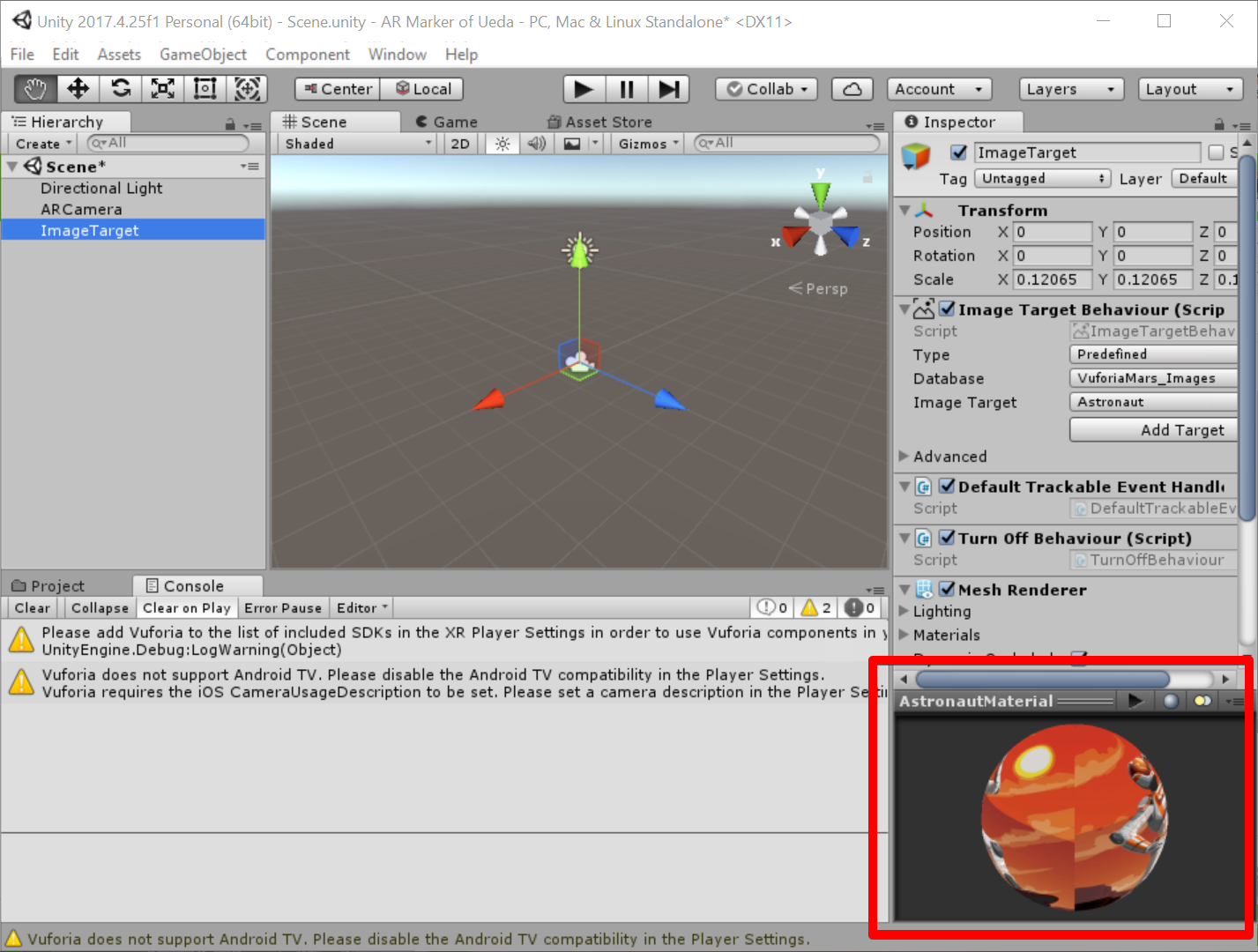 Unity 2017.4.25f1 Personal (64bit) - Scene.unity - AR Marker of Ueda - PC, Mac & Linux Standalone_ _DX11_ 2019-07-05 07.45.06.png