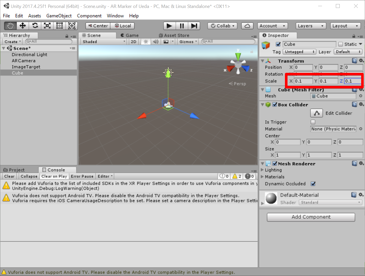 Unity 2017.4.25f1 Personal (64bit) - Scene.unity - AR Marker of Ueda - PC, Mac & Linux Standalone_ _DX11_ 2019-07-05 07.48.57.png