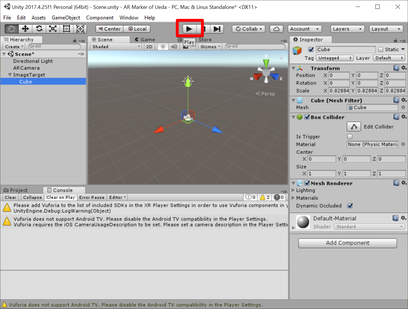 Unity 2017.4.25f1 Personal (64bit) - Scene.unity - AR Marker of Ueda - PC, Mac & Linux Standalone_ _DX11_ 2019-07-05 07.54.05.png