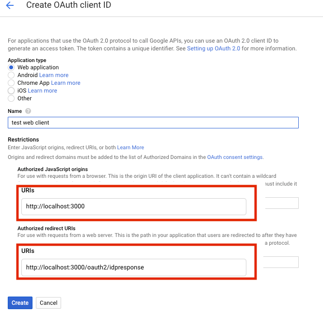 GCP APIs OAuth client ID