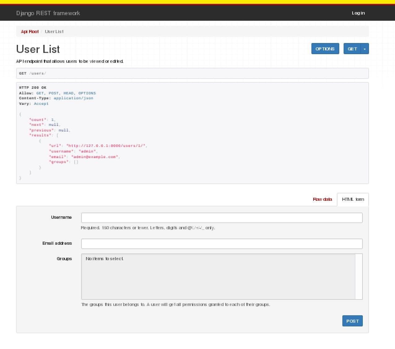 Django REST Frameworkチュートリアルをやってみた(1) -Quickstart- - Qiita