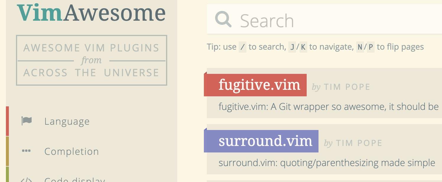 プラグインの検索に便利なvim awesomeのトップページ