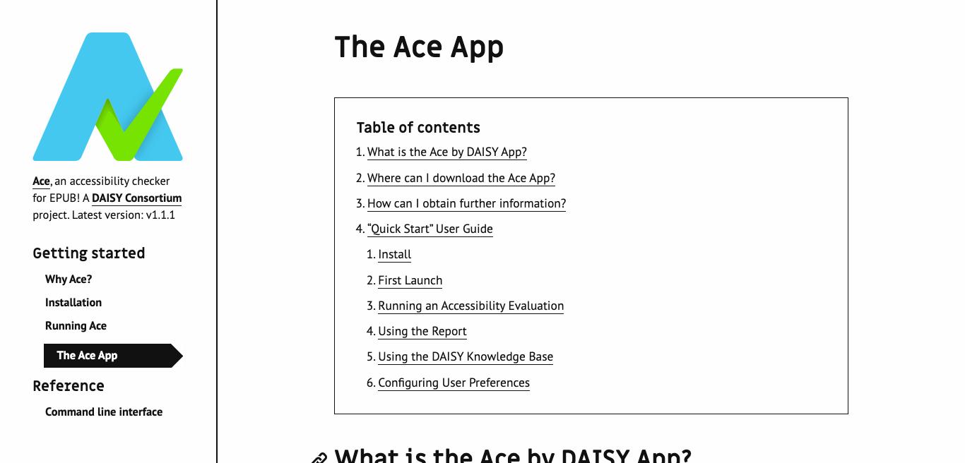 公式サイトの「The Ace App」ページ画面のスナップショット。アプリ導入に関するTable of Contentsが表示されている。