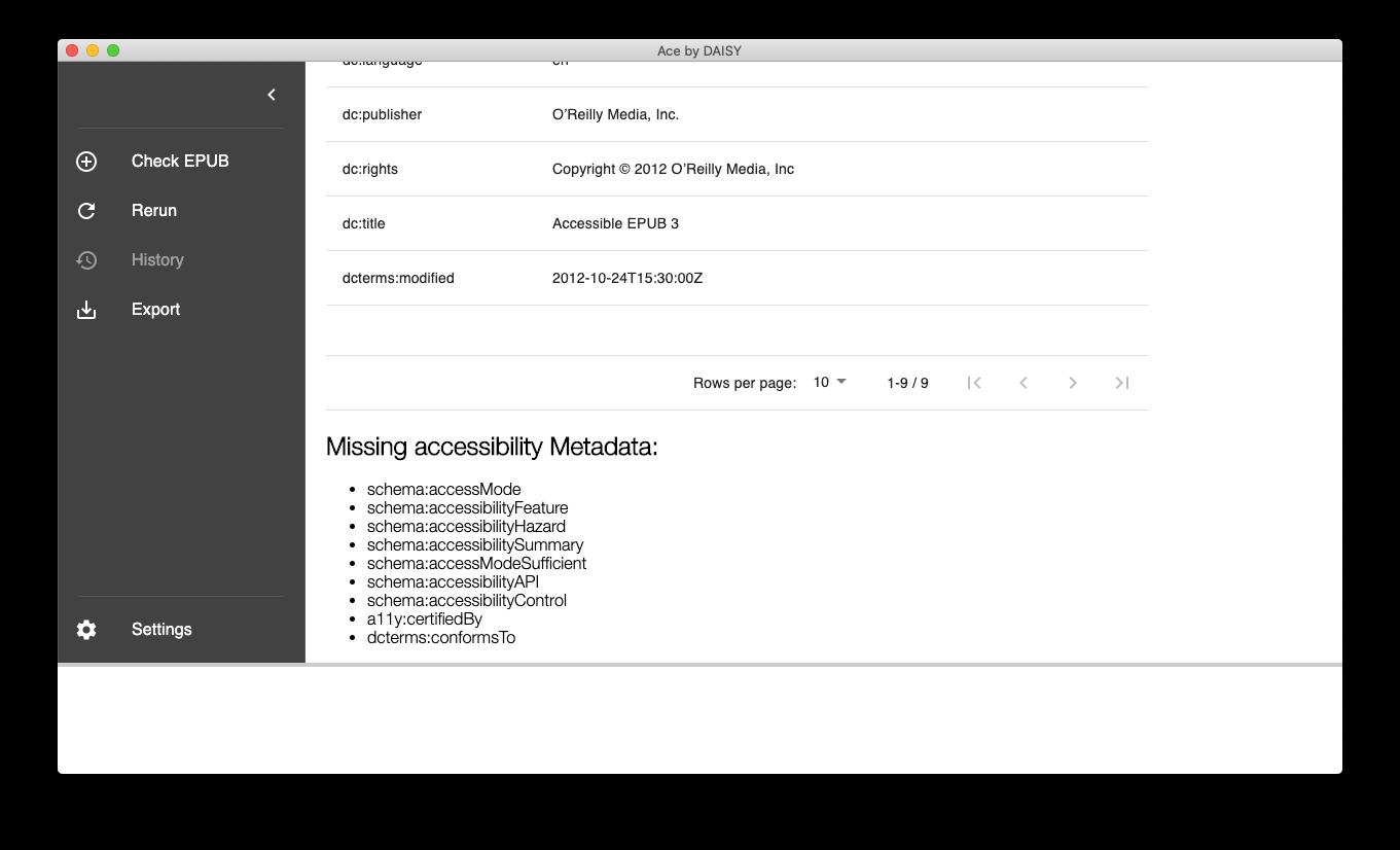 Ace AppのMetadataレポート画面。「Missing accessibility Metadata」が9件ある。