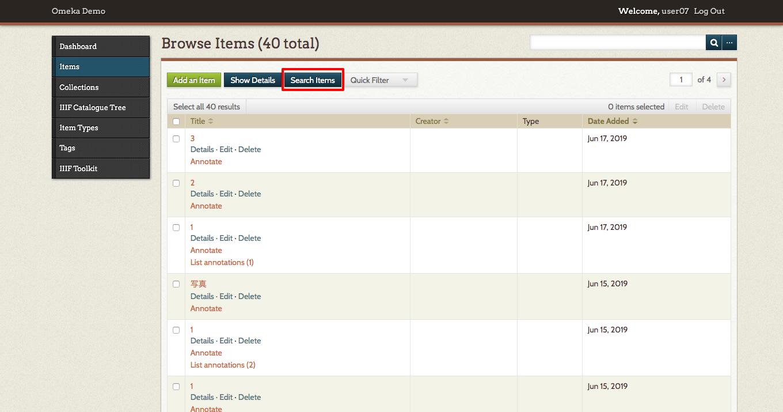 12-Browse Items  40 total  · Omeka Demo · Omeka Admin.png