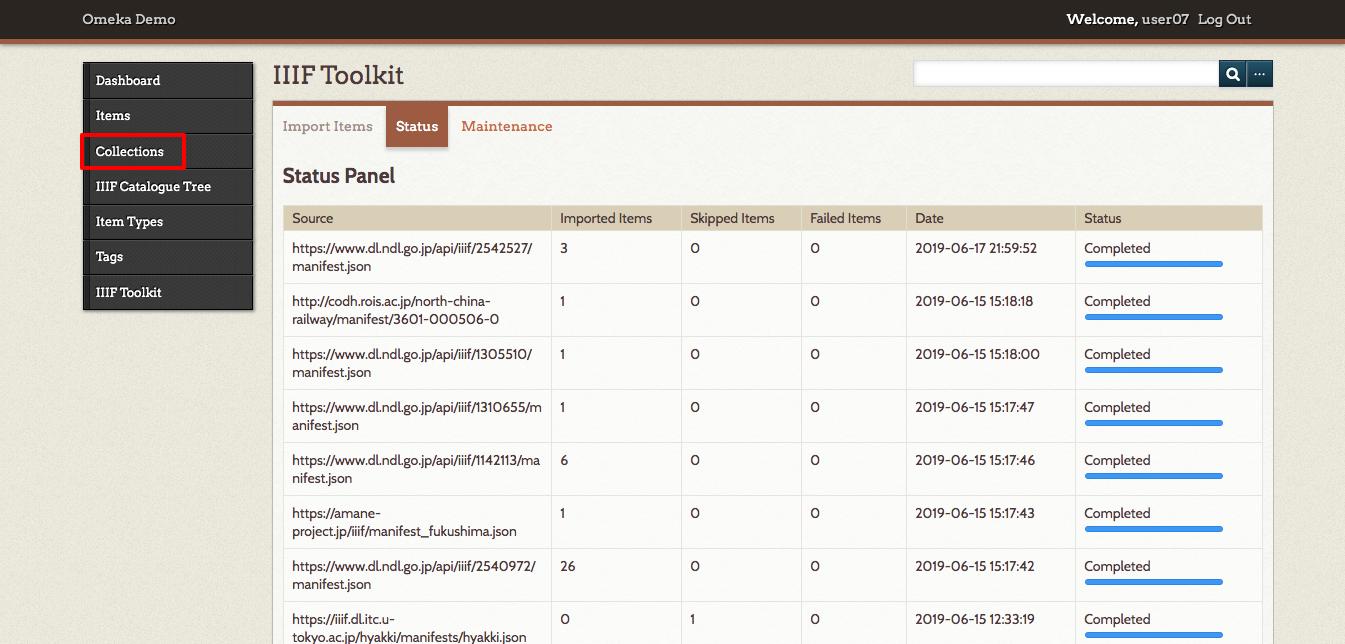 04-IIIF Toolkit · Omeka Demo · Omeka Admin.png