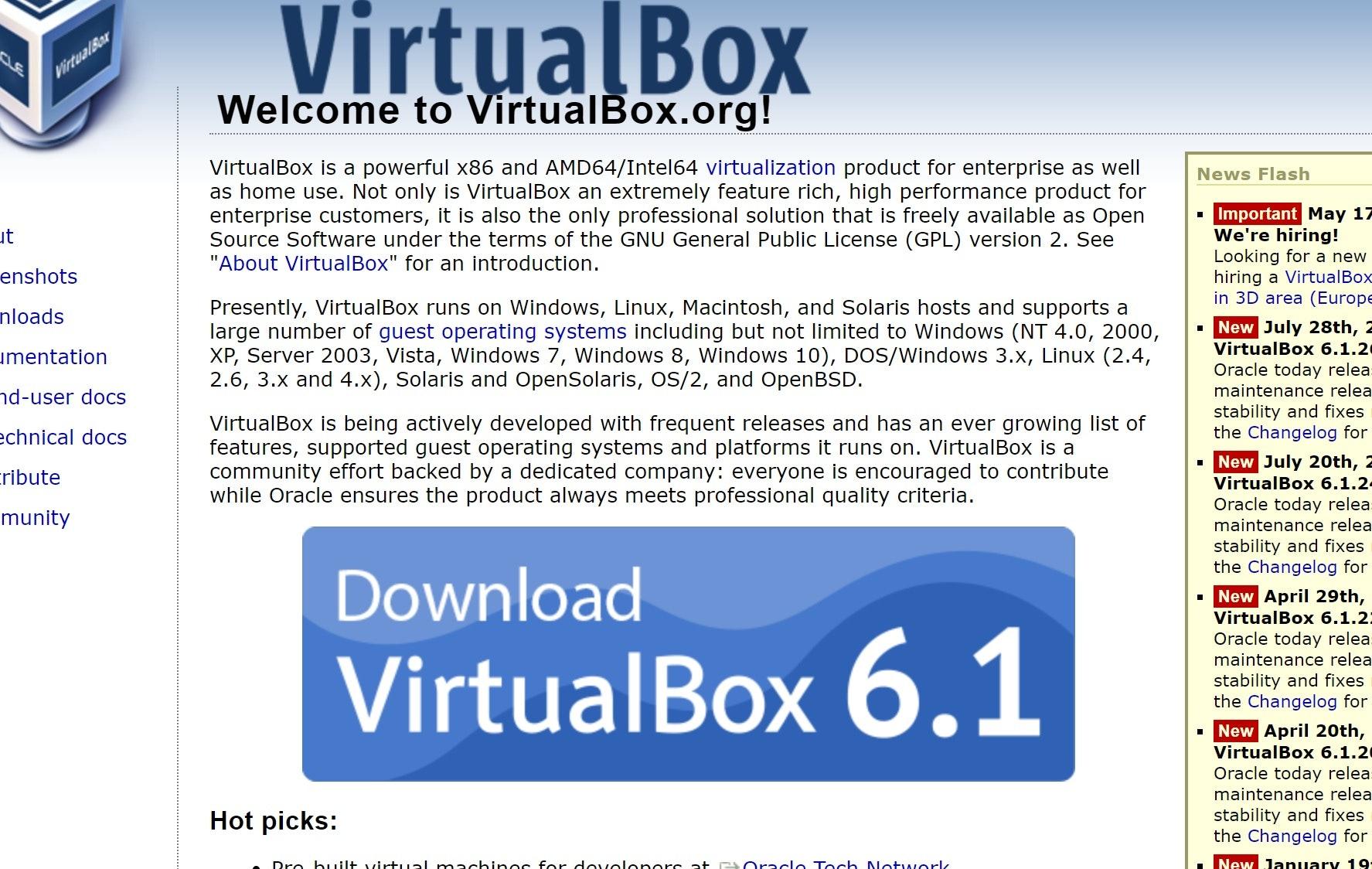 VirtualBox インストール ページ