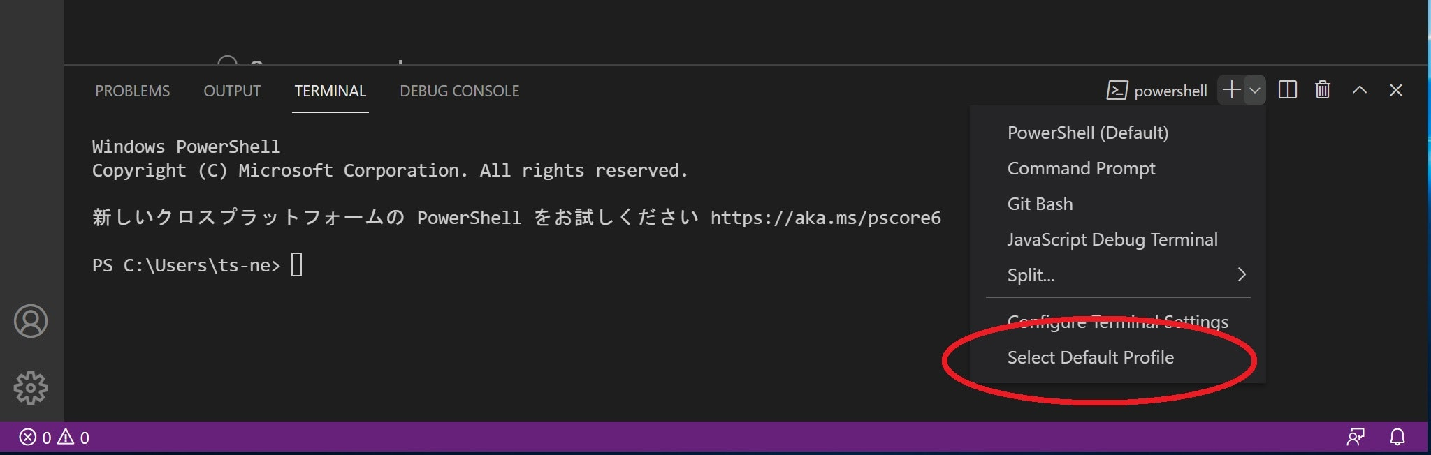 Visual Studio Code の Select Default Profile メニュー
